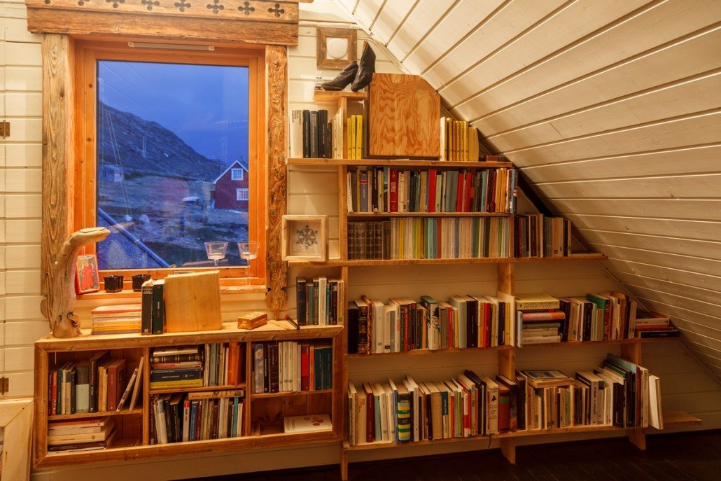 Bookshelf with view
